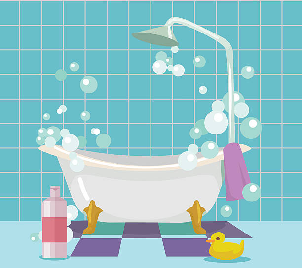 Bathroom interior. Vector flat cartoon illustration